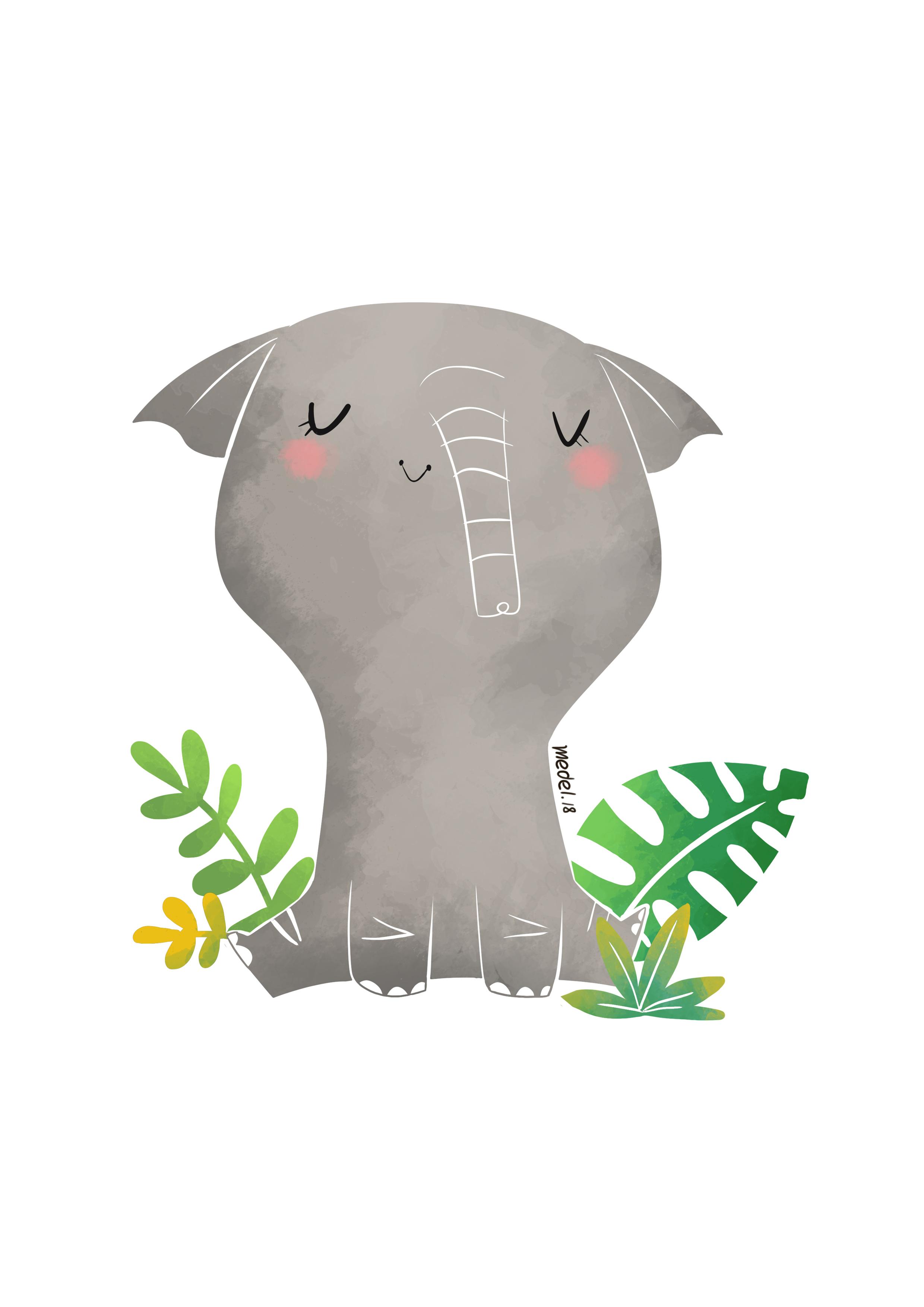 elefante pastel A4